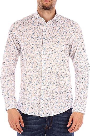 SUN68 Camisa Blanca con Flores.: Amazon.es: Ropa y accesorios
