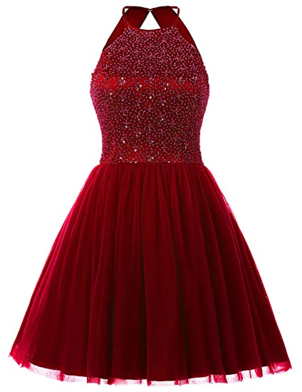 Sarahbridal Short Beading Halter Tulle Prom Dresses Backless Evening Party Gown red uk12