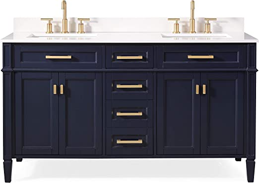 Contemporary Office Interior Design, Amazon Com 60 Durand Contemporary Modern Navy Blue Double Sink Bathroom Vanity 1808 D60nb Kitchen Dining