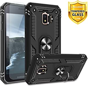 TJS Phone Case for Samsung Galaxy J2 Core/J2 2019/J2 Pure/J2 Dash/J2 Shine, with [Tempered Glass Screen Protector][Impact Resistant][Defender][Metal Ring][Magnetic Support] Heavy Duty Armor (Black)