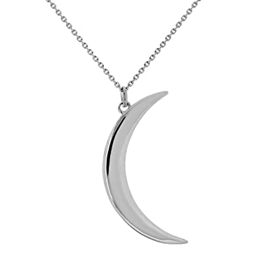 Amazon 14k gold crescent moon pendant necklace adjustable 16 14k gold crescent moon pendant necklace adjustable 16quot 18quot white gold aloadofball Image collections