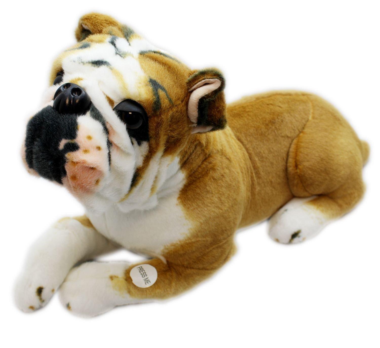 Plush Lying English Bulldog Dog Soft Toy Teddy With Noise