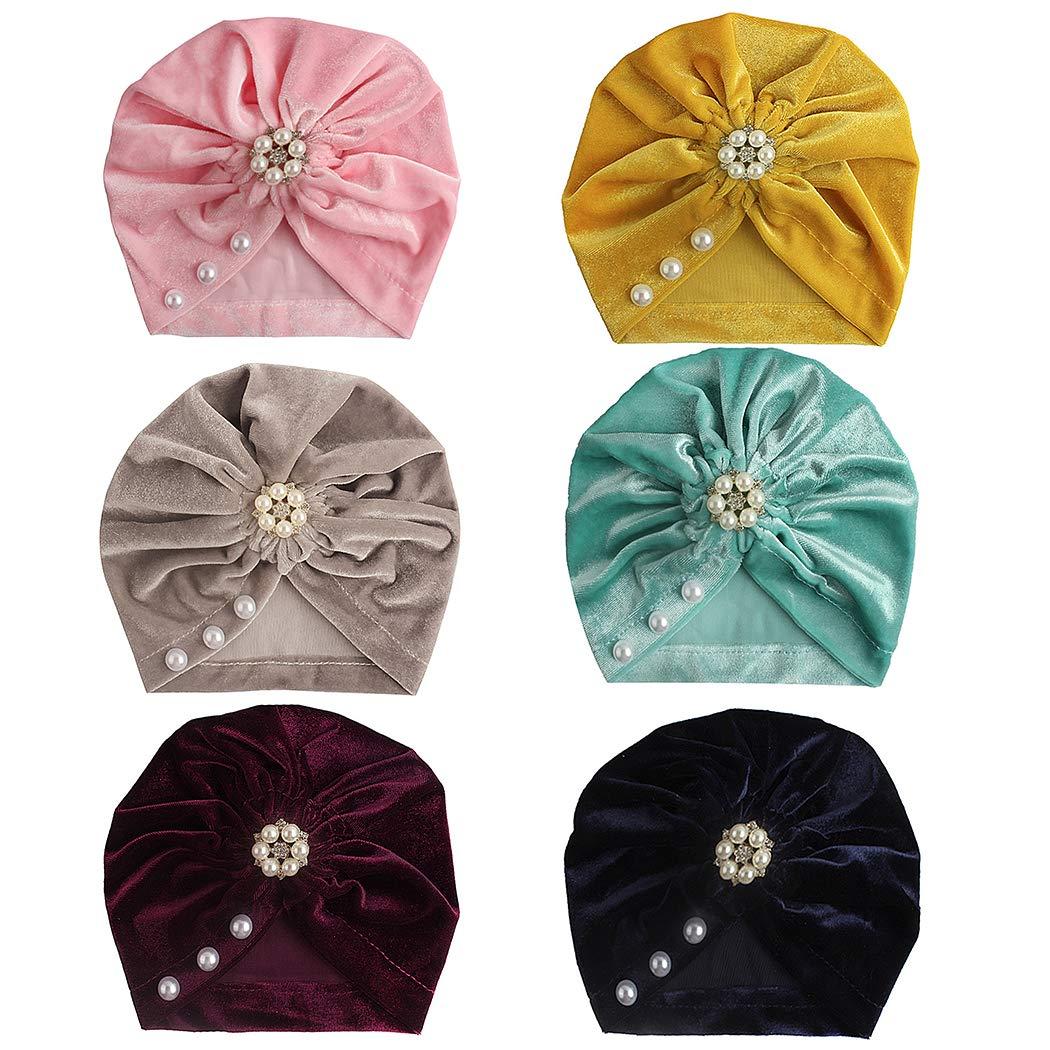 Kapmore 6PCS Baby Beanie Hat Stylish Flower Pearl Decor Beanie Cap Turban Hat by Kapmore