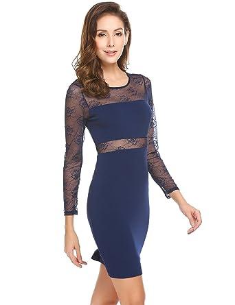 ed7a16446e0d Meaneor Damen Elegant Kleider Knielang Langarm aus Spitzen Abendkleid  Etuikleid Partykleid Spitzenkleid  Amazon.de  Bekleidung