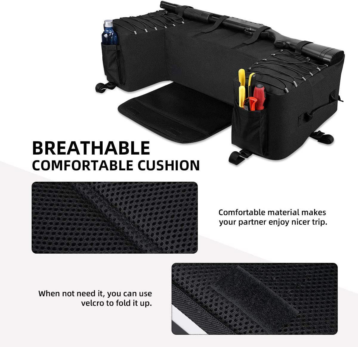 kemimoto ATV Gear Bag Waterproof Cargo Storage Bags ATV Rack Pack Utility Pack with Cushion Water Bottle Holder