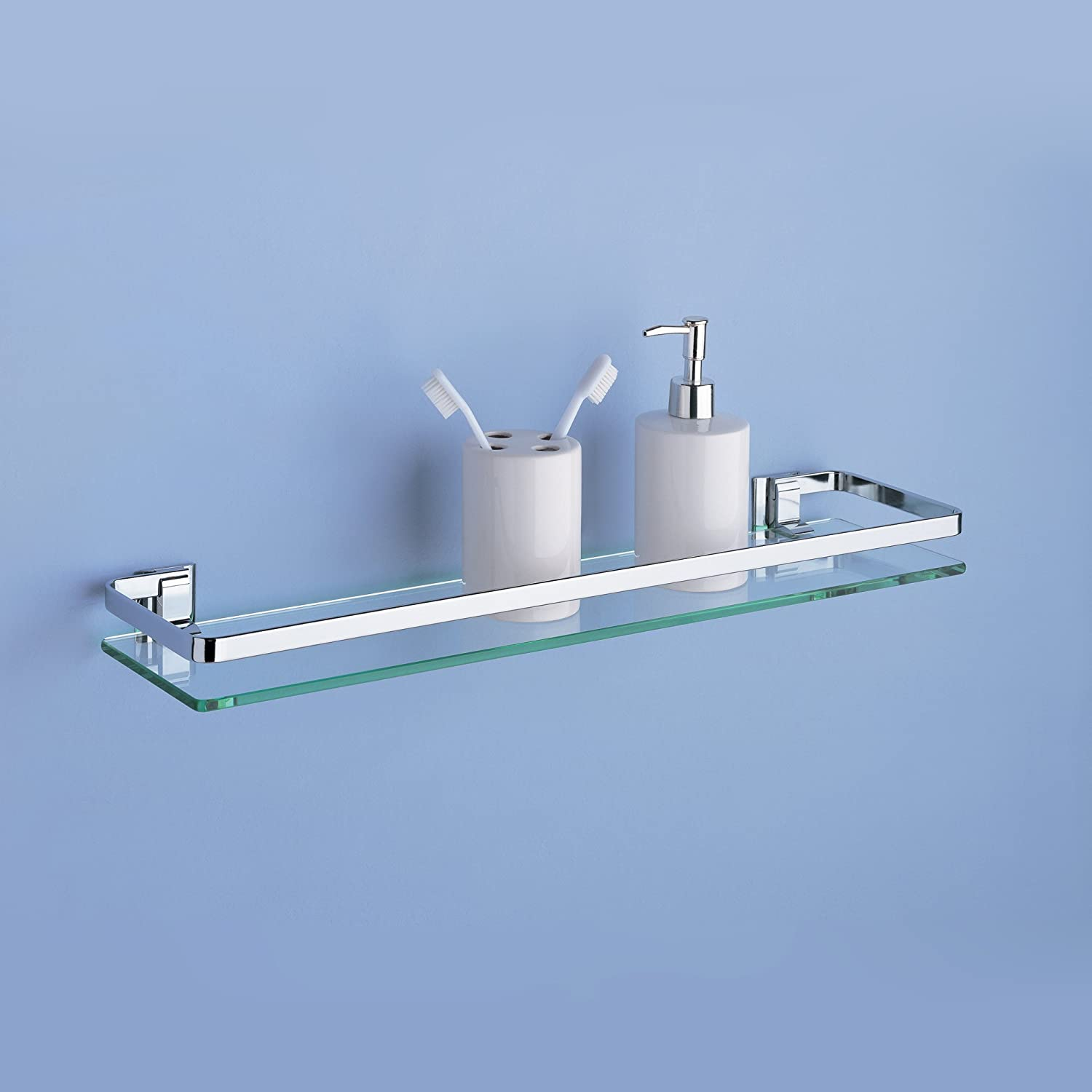 Organize It All Wall Mounting Bathroom Glass Shelf with Chrome ...