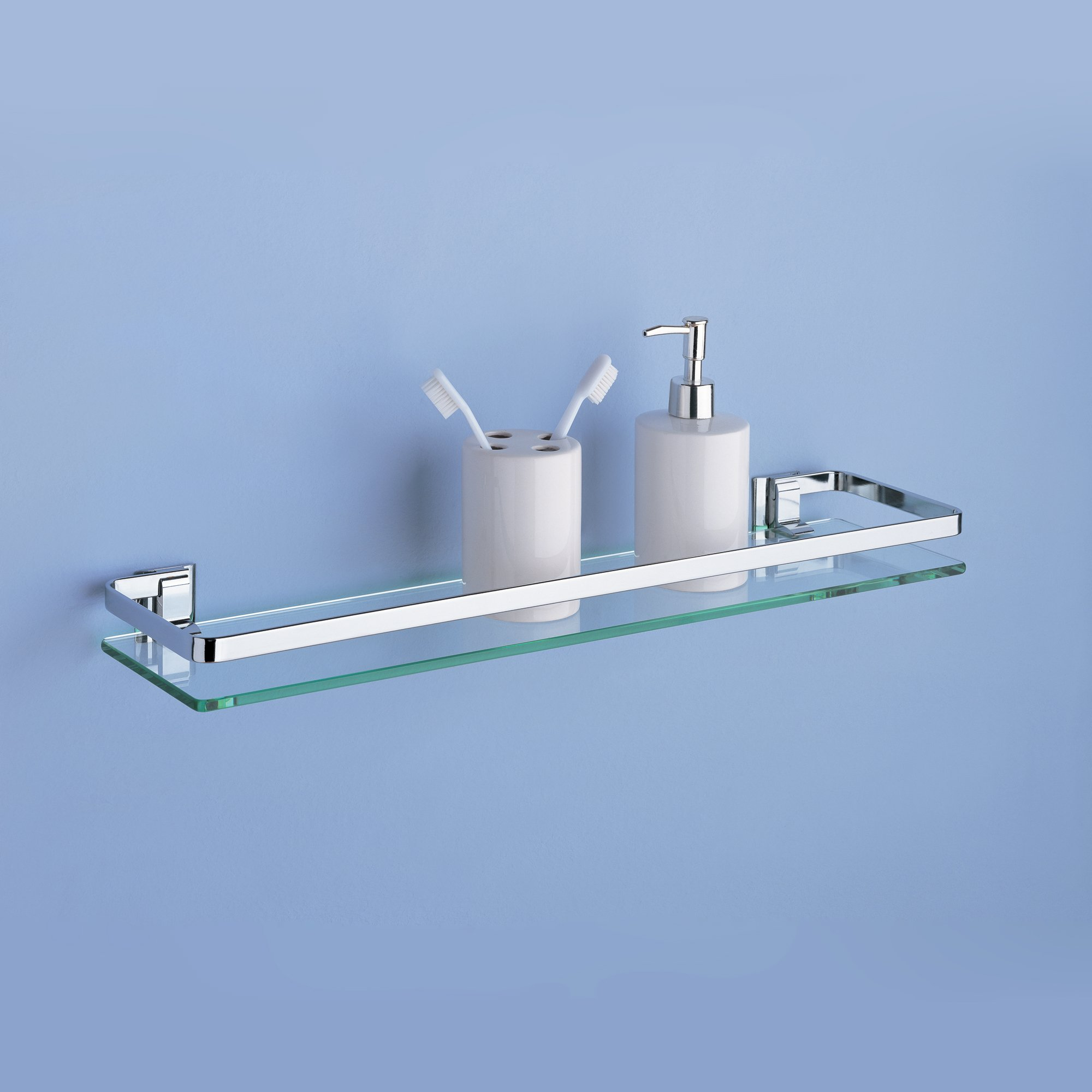 Organize It All Wall Mounting Bathroom Glass Shelf with Chrome ...