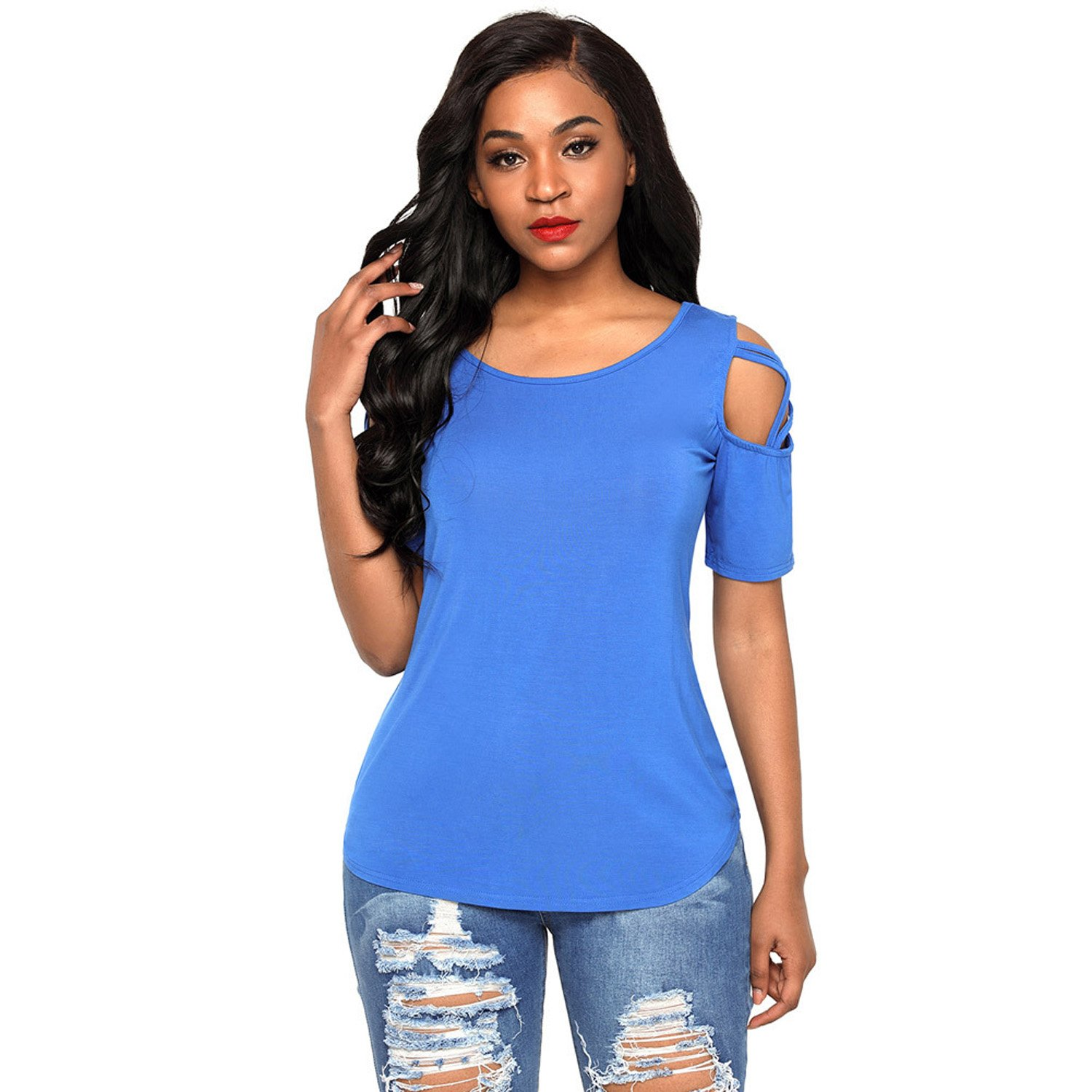 Womens Short Sleeve Blue Shirts Casual Tee Tank Tops Knot Basic Blouses Funny Fashionable Elegant Simple Work Wear (Blue, L)