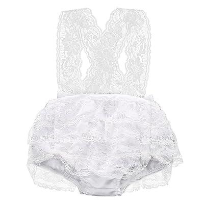Newborn Infant Baby Girls Lace Floral Bow Romper Jumpsuit Outfits Backless Sunsuit