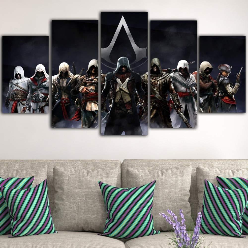 Leinwand-Malerei Innen 5 St/ück Spiel Poster Assassins Creed Malerei HD Poster /Ölgem/älde Schwarz Kunst Auf Leinwand Wandbilder For Wohnzimmer Zu Hause Dekoration Leinwand Gem/älde