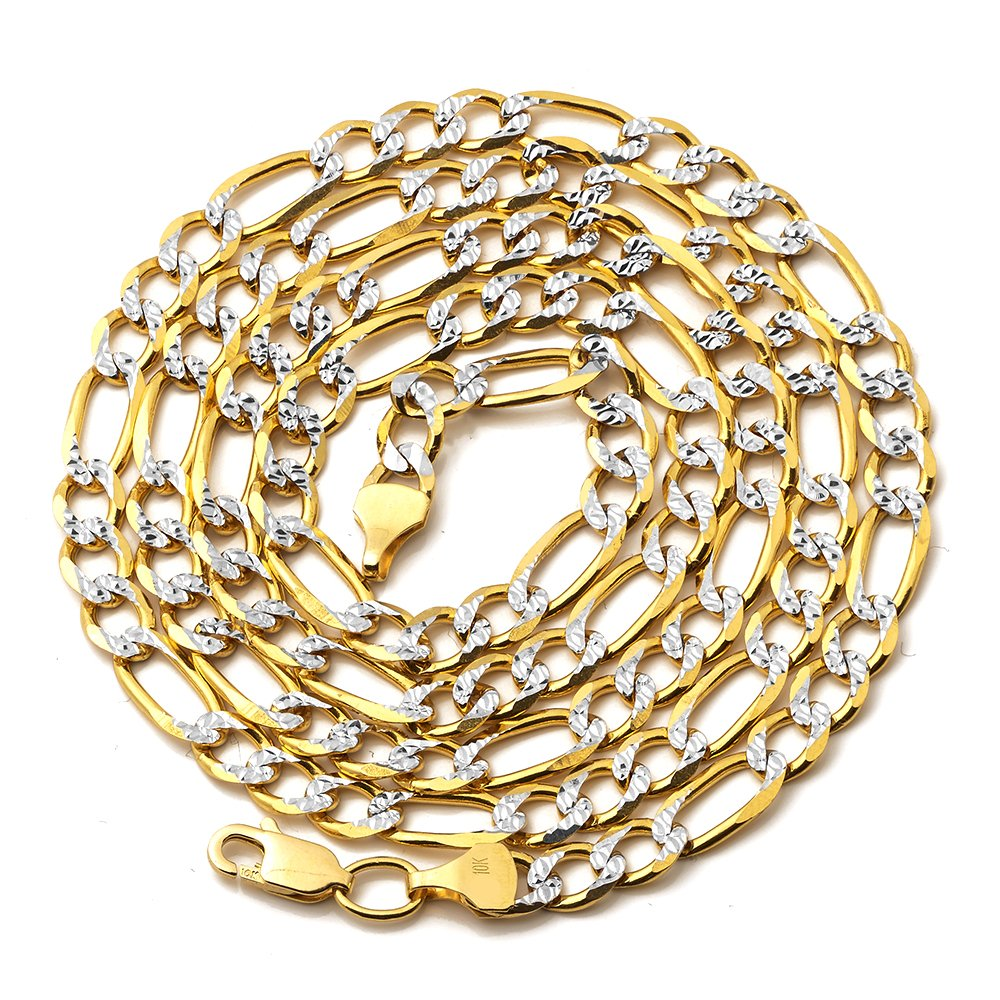 Mr. Bling 14K Yellow Gold 5.5mm Solid Pave Two-Tone Figaro Chain Necklace Lobster Lock (22)