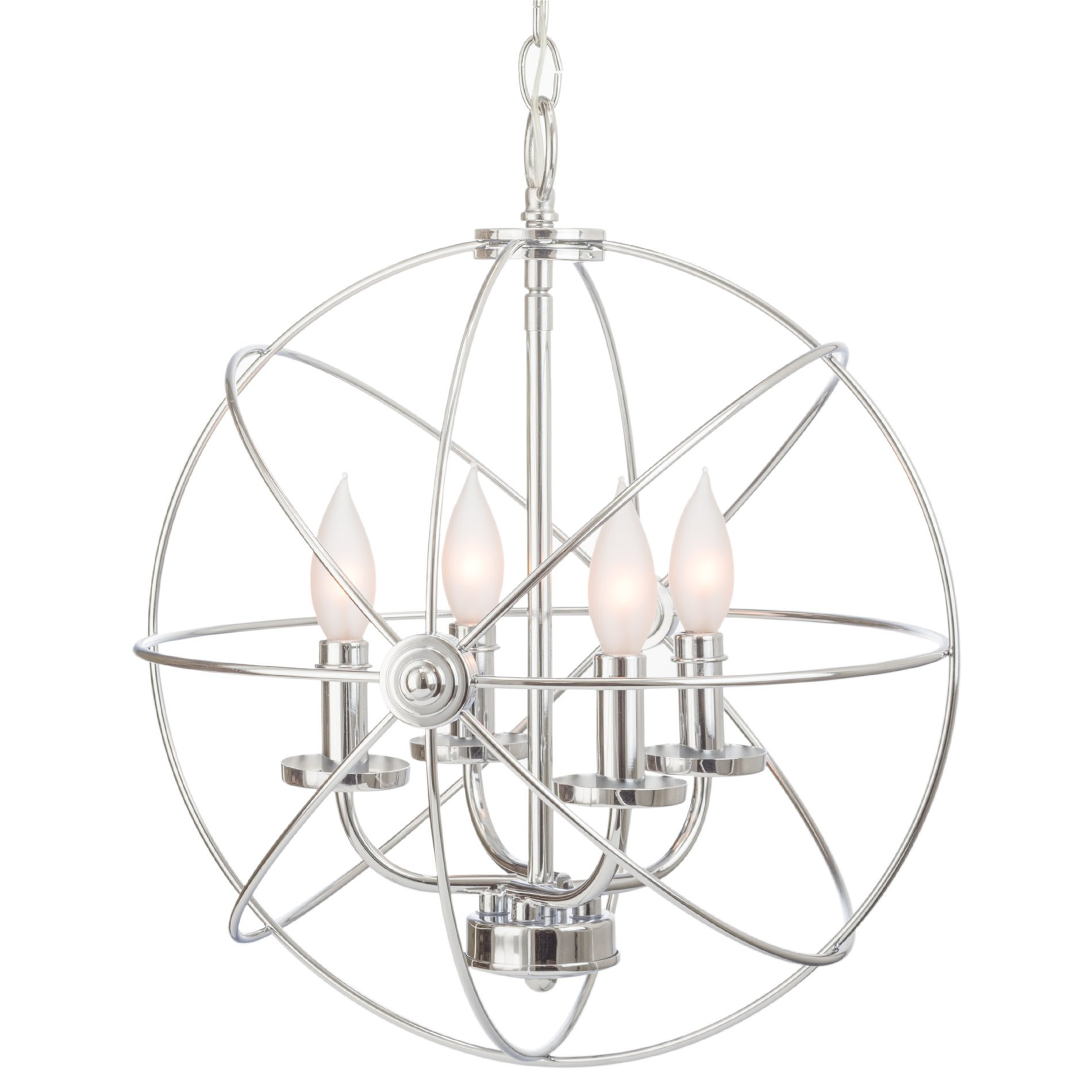 Kira Home Orbits II 15'' 4-Light Modern Sphere/Orb Chandelier, Chrome Finish by Kira Home