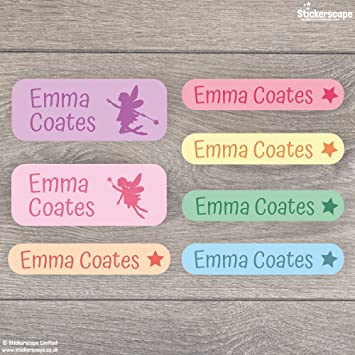 stationery etc ready for school 4 colour options to choose 136 Fairy stick on name labels for children Perfect for labelling tupperware shoes