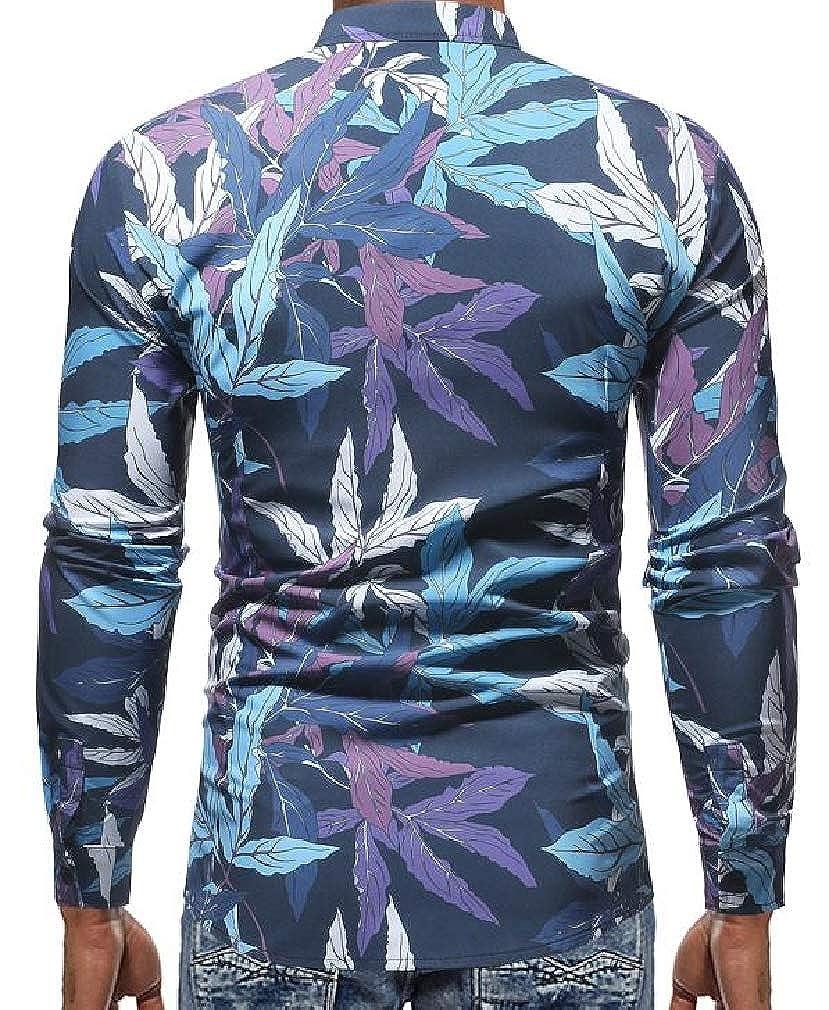 Joe Wenko Mens Lapel Neck Long Sleeve Slim Fit Print Curved Hem Button Down Shirts