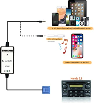 Car USB Aux-In Adapter MP3//Iphone Player Radio Interface For accord 2.3 Acura