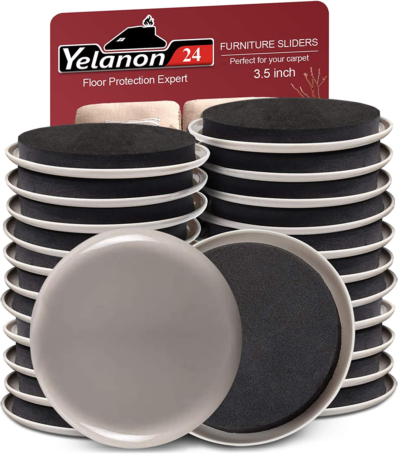 """Yelanon Furniture Sliders 24pcs - 3 1/2"""" Furniture Sliders for Carpet Reusable Furniture Moving Pads Heavy Duty Furniture Movers Kit, Protect All Carpet Surfaces, Move Heavy Furniture Easy and Quickly"""