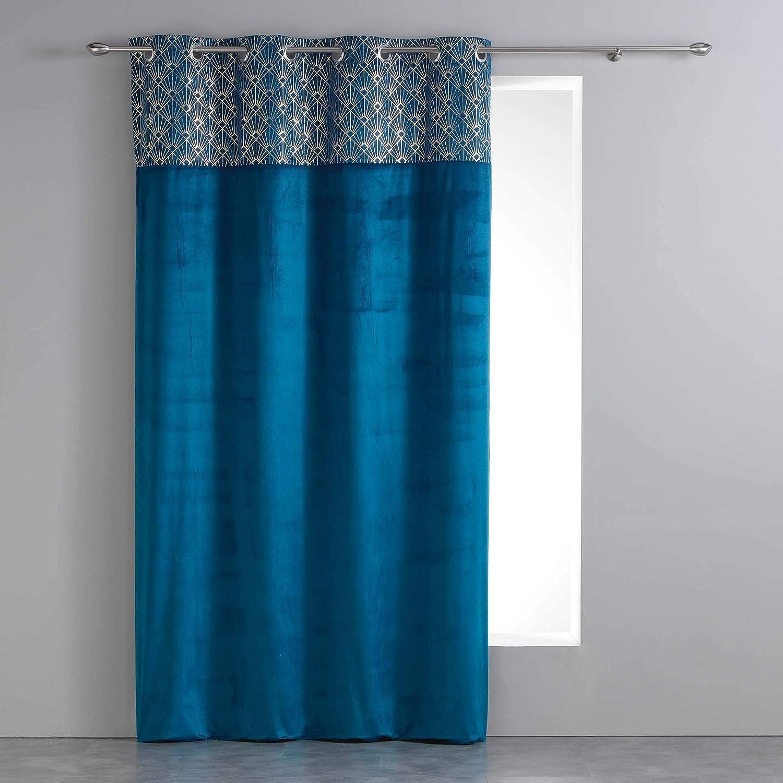 Douceur d'Intérieur Rideau a Oeillets 140 x 240 cm Velours+Top Imprime Or Graphigold Bleu L3C 1608036