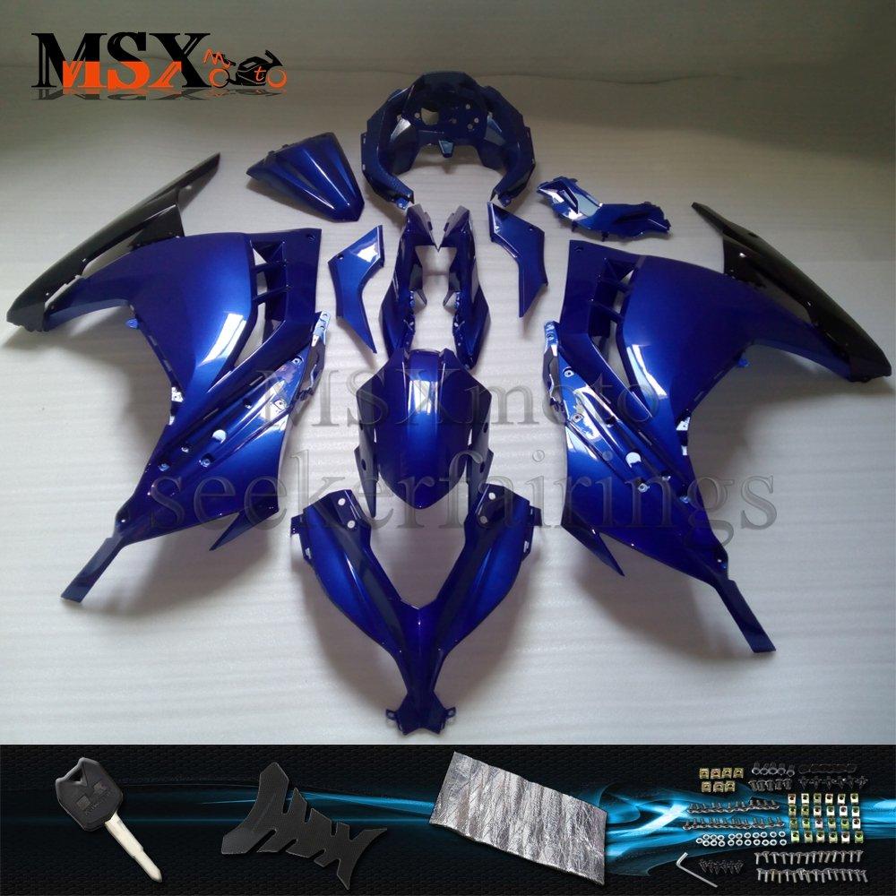 MSX-moto 適応 EX300R ZX300R 2013 2014 2015 2016 EX 300R Ninja300 外装パーツセット ABS射出成型完全なオートバイ車体 青/ブルーのボディ   B07DZWG7HF