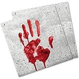 Blutige Hand Servietten Halloween-Deko 20 Stück weiss-rot 33x33cm Einheitsgröße