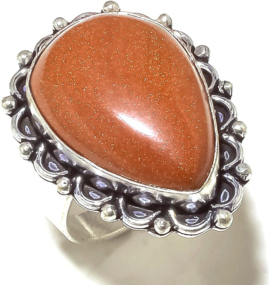 Sizable Golden Sunstone Sterling Silver Overlay 11 Grams Ring Size 7.5 US Gift Jewelry
