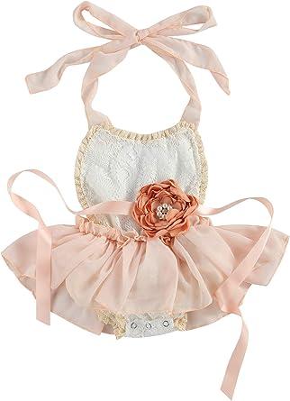 Newborn Infant Baby Girls Clothes Jumpsuit Bodysuit Lace Romper dress Outfits
