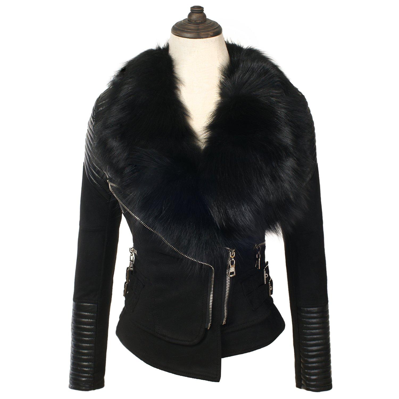 She'sModa Suede Real Fox Fur Collar Slim Tailoring Women's Moto Leather Jacket L Black