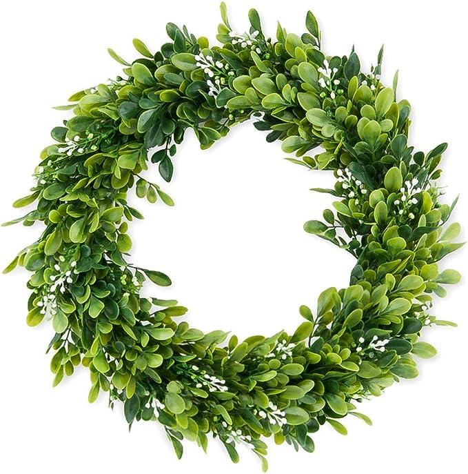Amazon Com 15 Inch Boxwood Wreath Round Wreath Artificial Green Leaf Wreath Door Wreath Green Wreath For Home Door Hanging Wall Window Wedding Decoration Home Kitchen
