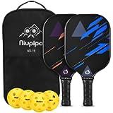 niupipo Pickleball Paddles, Fiberglass Surface, Pickleball Set of 4 Balls & 2 Covers