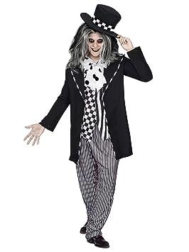 Generique - Sombrerero Loco Cuento de Hadas Halloween Negro-Blanco Hombre L / XL (