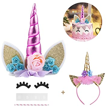 Halofuno Unicorn Cake Topper Kit With Eyelashes And Shiny Headband Decorations Set