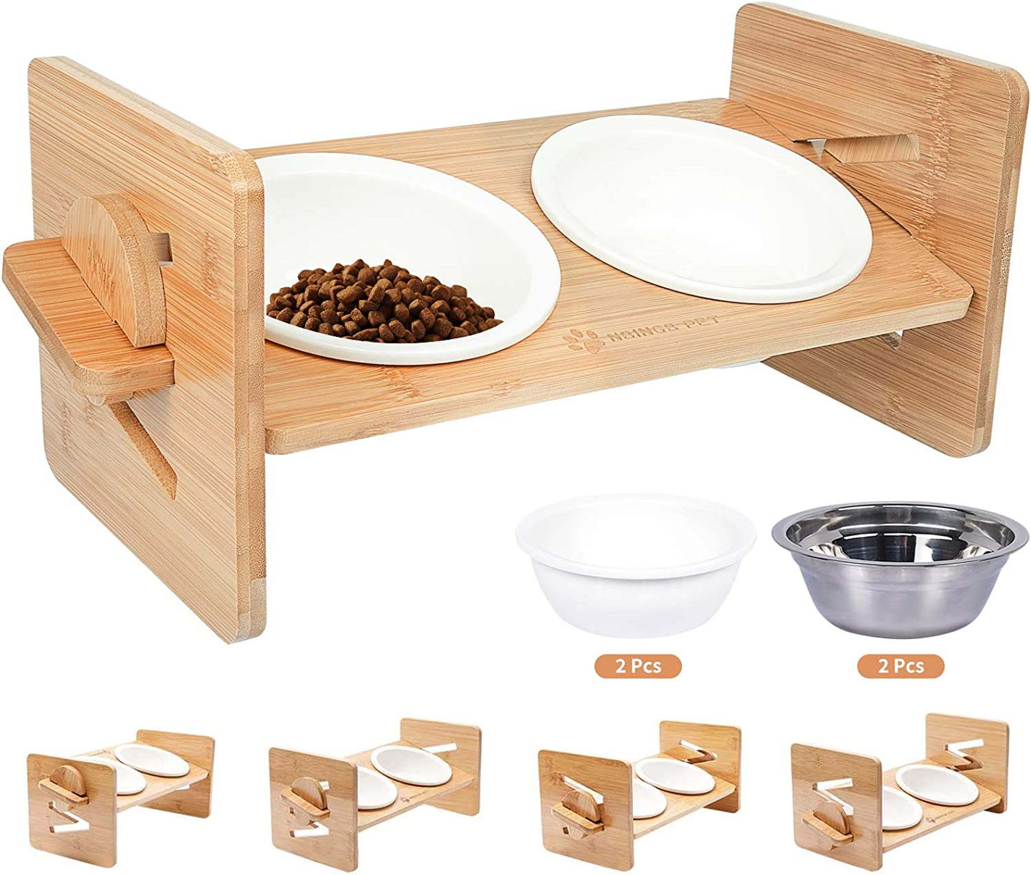 Raised Pet Bowl for Cats and Small Dogs, Adjustable Elevated Dog Cat Food and Water Bowl Stand Feeder with Extra Stainless Steel Bowls (Small to Medium with 4 Bowls)