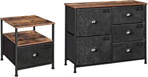 SONGMICS Nightstand Bundle with Fabric Drawer Dresser, Industrial Style Storage Unit with Metal Frame, Wooden Top, Rustic Brown and Black ULVT02H and ULVT05H
