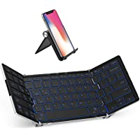 iClever BK05 Bluetooth Keyboard with 3-Color Backlight, Bluetooth 5.1 Multi-Device Foldable Keyboard with Aluminum Alloy…