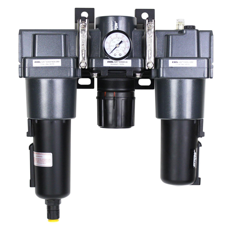 ExelAir EX55FRL40A-08M 1'' NPT Metal FRL Air Filter Regulator and Lubricator System by EXELAIR