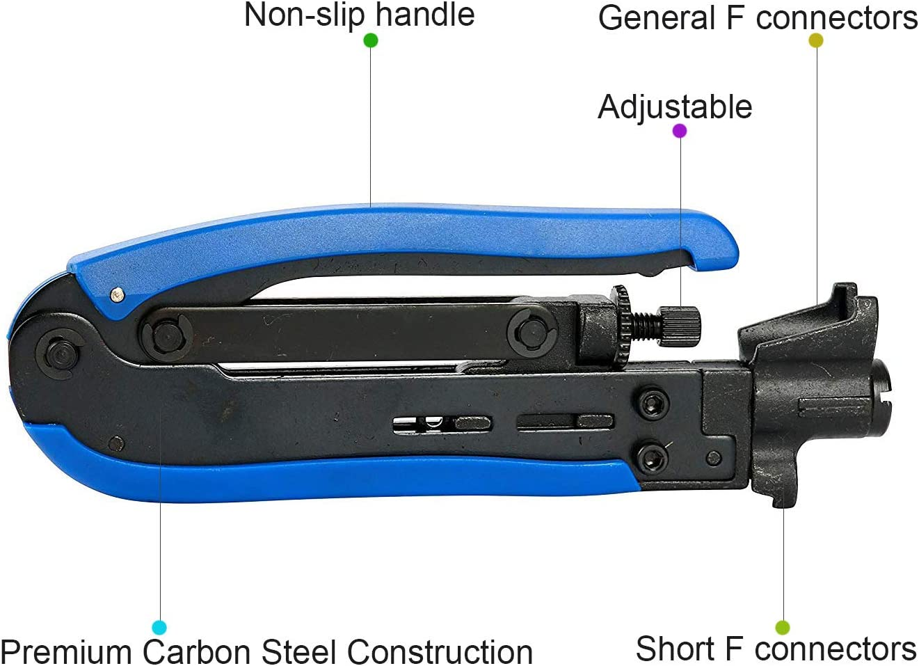 for Satellite TV JINBAO Coaxial Cable Crimper and Stripper RG59 Home Theater RG11 Compression Hand Tool Blue RG6 Yellow