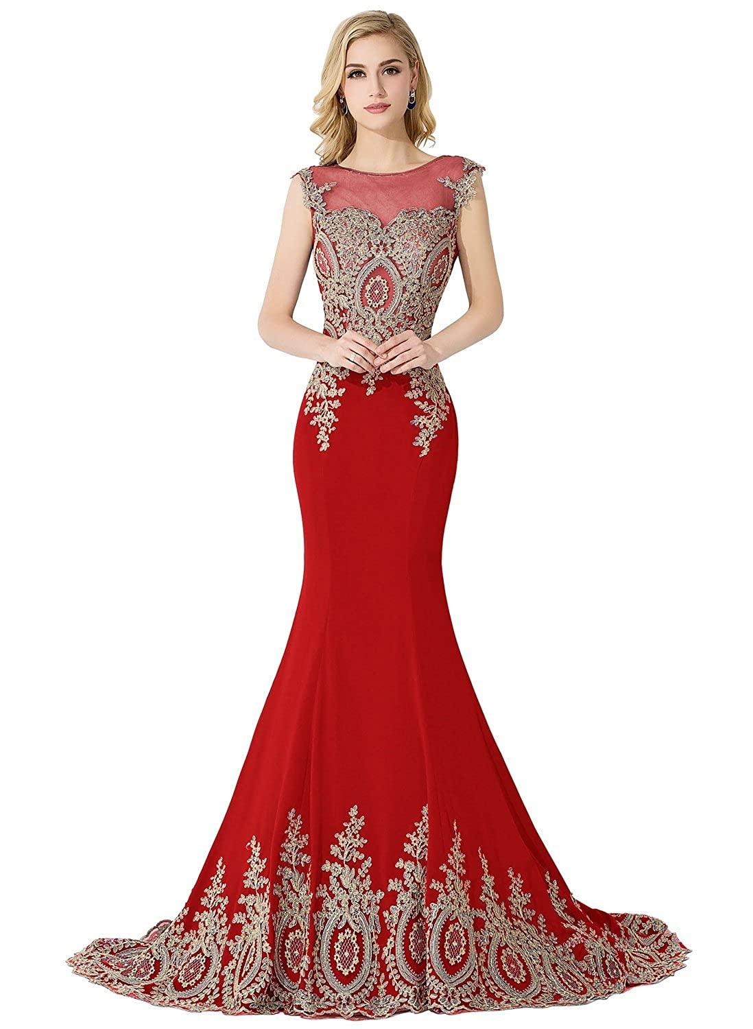 MisShow Women's Embroidery Lace Long Mermaid Formal Evening Prom Dresses
