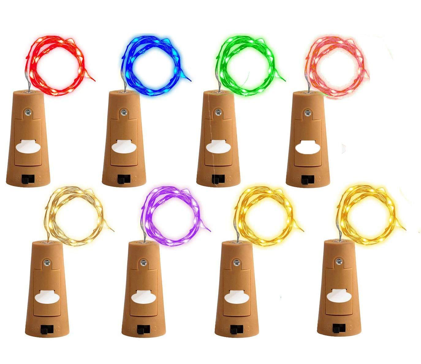 (8 Pack) RENYD Wine Bottle String LED Lights with Cork,Pumpkin Lantern Decorative Lights,LED Cork Lights for Copper Wire Bottle Lights for Party,DIY, Decoration, Christmas, Halloween,Wedding-8 Colors 7172BakezEEL