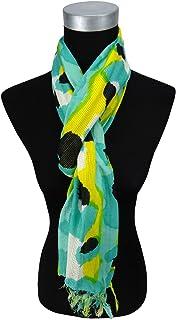 ohne Markenname Damen Satin Halstuch blau t/ürkis gelb gepunktet 90 x 90 Tuch Nickituch Schal