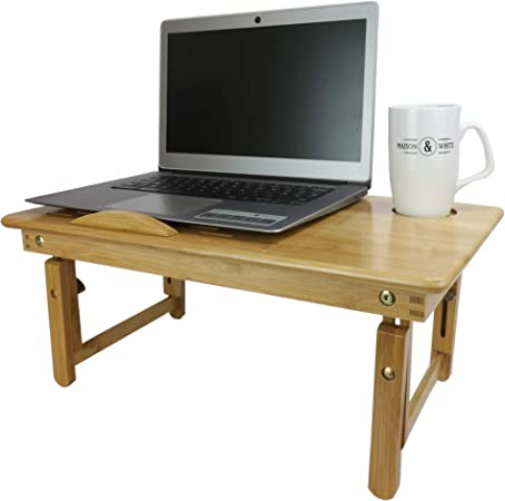 Soporte para portátil plegable de bambú | Escritorio de cama de ...