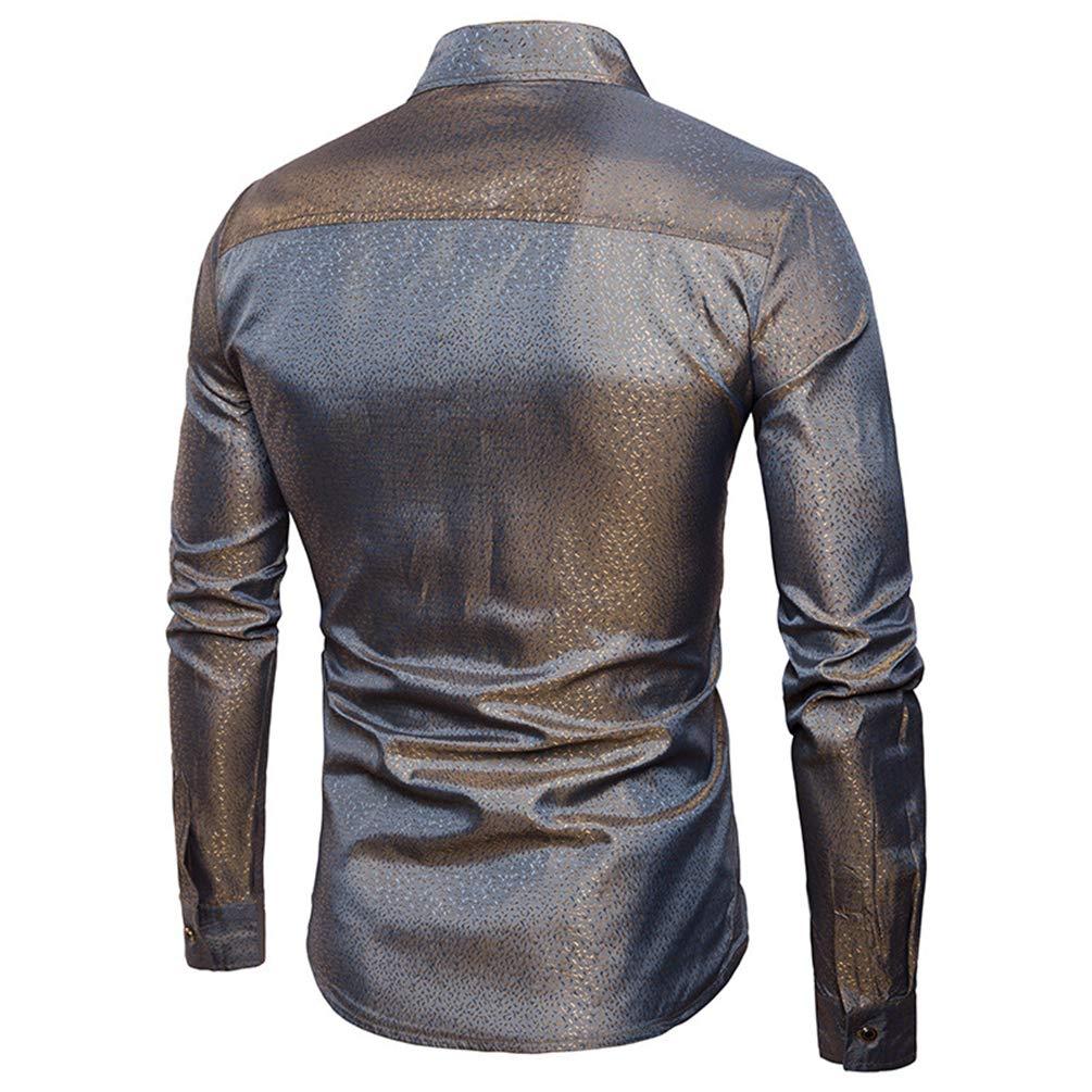 WanYangg Camisa Mangas Largas Hombres Shirt Solapa Camisas De Vestir Color  S ó lido Fancy Slim ... ce377a5bf4ab7