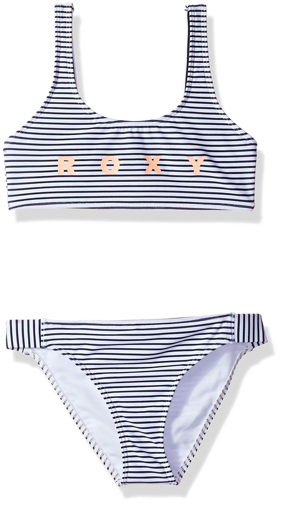Roxy Big Girls' Surfing Free Athletic Swimsuit Set, Medieval Blue Cosy Stripes Swim, 12