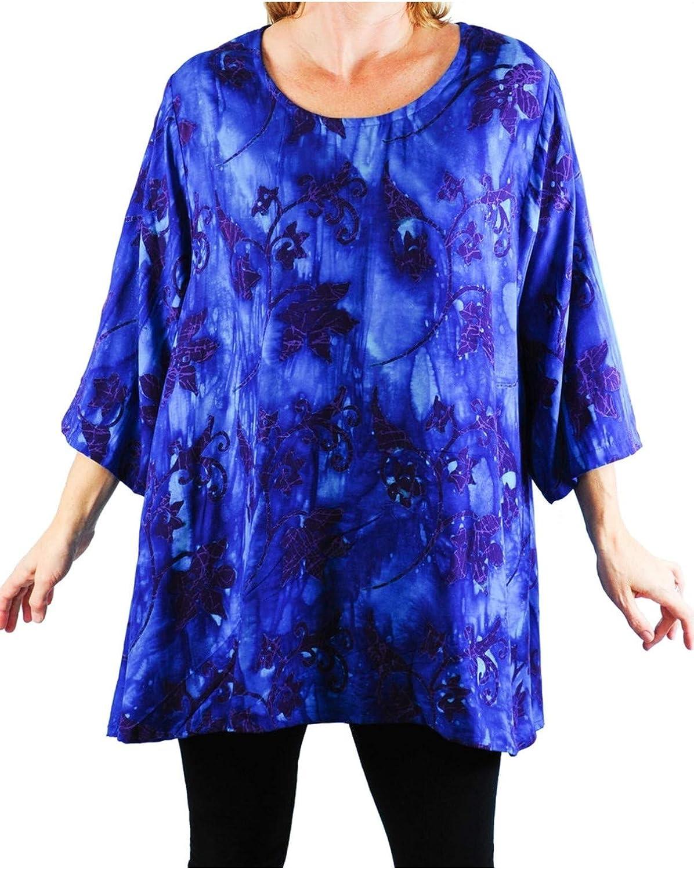 Plus size stretch rayon blue /& purple tie dye top.