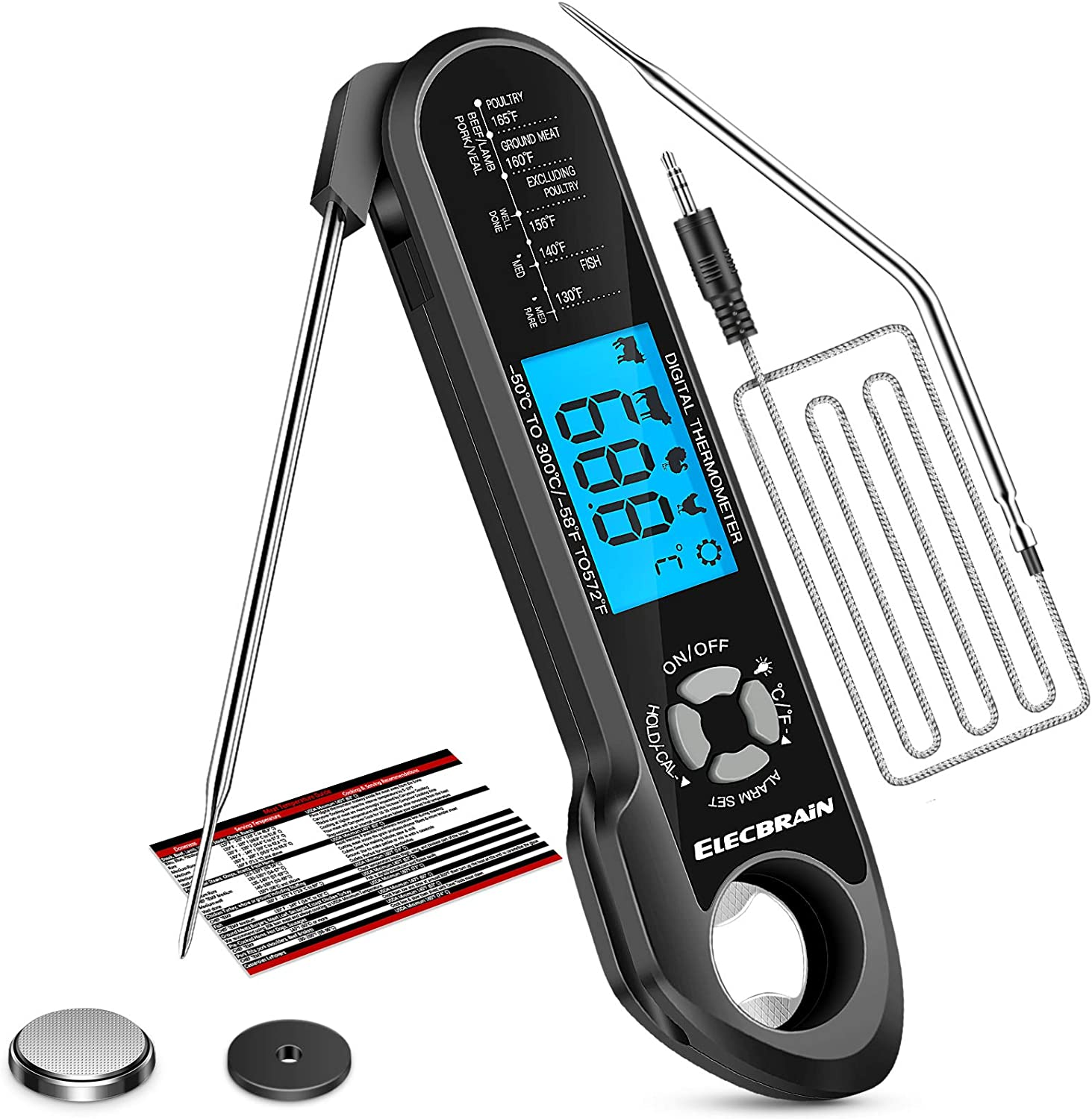 2 in 1 Dual Probe Digital Instant Read Food Meat Thermometer with Backlight, Alarm, Magnet & Corkscrew Function,Food Thermometer for Oven, Deep Frying, Outdoor BBQ, Candy, Liquids and Baking