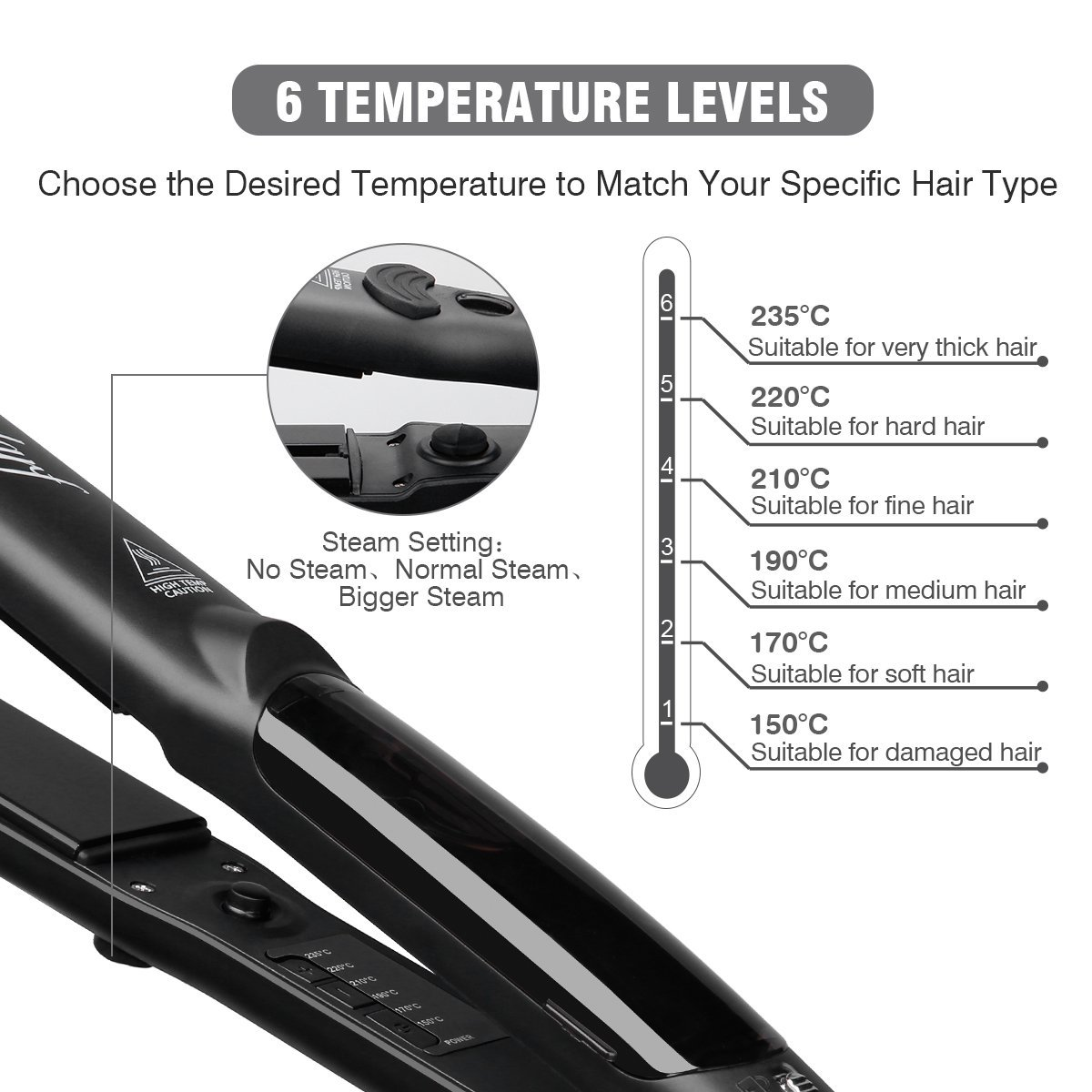 Steam Hair Straightener Professional Ceramic Tourmaline Ionic Ceramic Tourmaline Ionic Flat Iron Straightens Curls with Adjustable Temp Travel Size Black