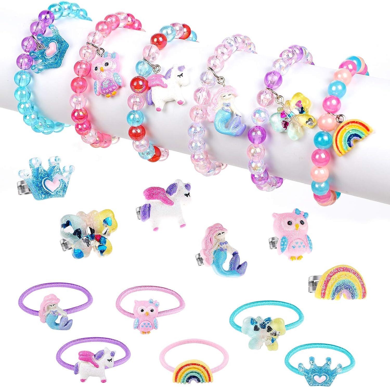 18 Piezas Pulseras y Anillos para Niña Joyas Niña Unicornio Sirena Corona Mariposa Pulseras Anillos Ajustables Princesa Joyería Regalo de Fiesta de Cumpleaños para Chica
