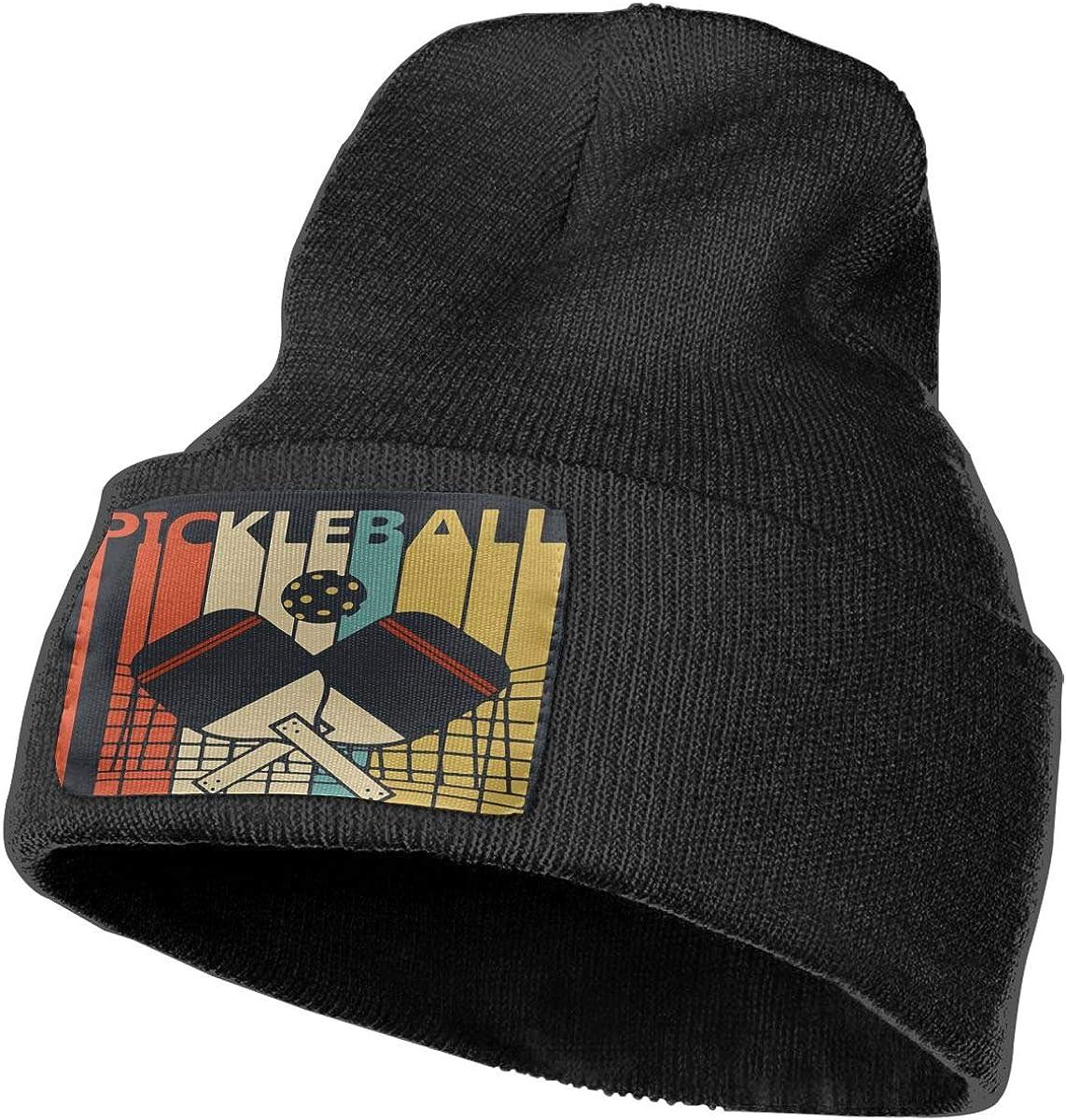 Vintage Retro Pickleball Women and Men Skull Caps Winter Warm Stretchy Knitting Beanie Hats