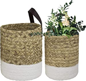 LA JOLIE MUSE Wall Hanging Small Storage Baskets - Water Hyacinth & Paper Woven Hanging Baskets Set 2