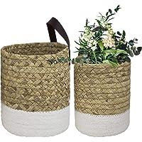 Wall Hanging Small Storage Baskets - Water Hyacinth & Paper Woven Hanging Baskets Set 2