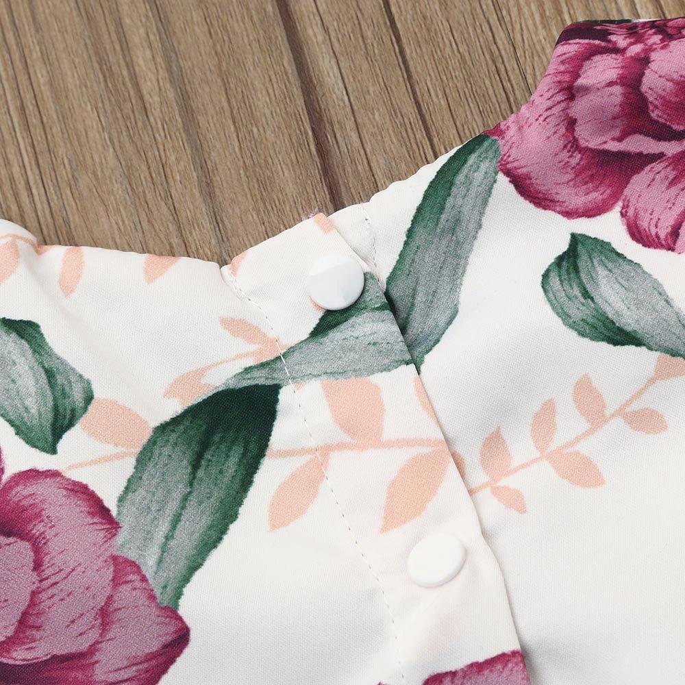 MOVEmen Kids Baby Girl Floral Print Dress+Headband Outfits Clothes Set Long Sleeve T-Shirt Tutu Party Evening Dress