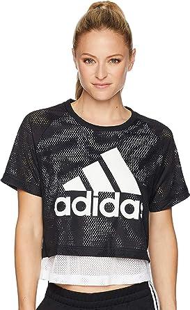 Adidas ID Mesh Crop T-Shirt at Amazon Women s Clothing store  b6b7d427b3d6